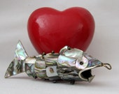 Vintage Articulated Abalone Shell Jointed Fish Pendant / Bottle Opener - MINT