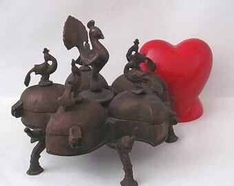 Antique Brass India Kumkum Box - Five Compartments - Powders Saffron Container Ceremonial  Rituals Hinduism Pride Beauty Pods