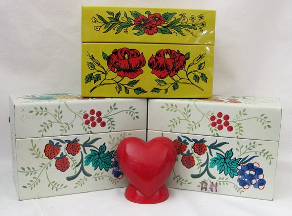 Three Vintage Recipe Tins loaded with old recipes - Treasury Item 2X