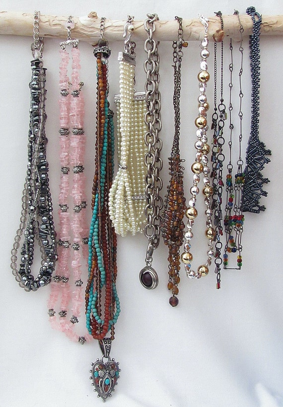 RESERVED for Deb - Do Not Buy - Destash of TEN (10) complete necklaces for re-cycle, up-cycle, steampunk or reconstruction - Only 2.50 each