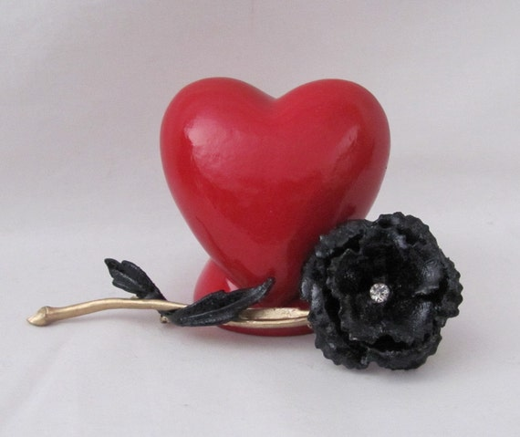 Black Rose with Rhinestone Brooch