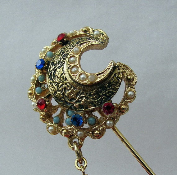 Vintage Stick Brooch Hat Pin Crescent Moon with Chain - Ornate and full of Tiny Gemstones - by ART