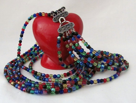 Vintage Multi Color Glass Bead Graduated Necklace - Six Strand - Colorful and Shiny