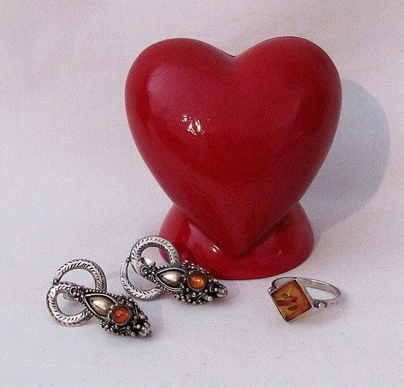 Vintage Amber STERLING Silver Ornate Earrings and Ring - Gorgeous