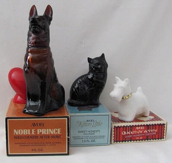 Vintage Avon Perfume bottles - German Shepherd, Kitten and Scottie - With Original Boxes