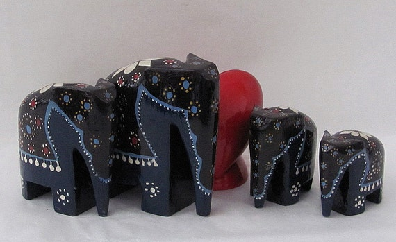 Vintage Set of Four Graduating Hand Painted and Carved Wood Elephants - Good Luck Elephants - Can't we All Use Good Luck
