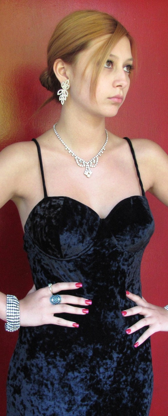 Vintage Crushed Velvet Gown or Dress with Criss Cross Back and Flared Bottom - Never Worn - Contempo Classic Dress - 1990s