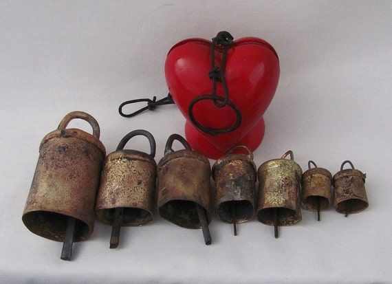 HOLD for Trinity - Old Vintage Bells of Heavy Tin - Original Patina - Great for Crafts or Decor