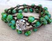 Boho bracelet , 'Tropical Isle' turquoise picasso, crochet jewelry, island, rustic, organic bohemian chic