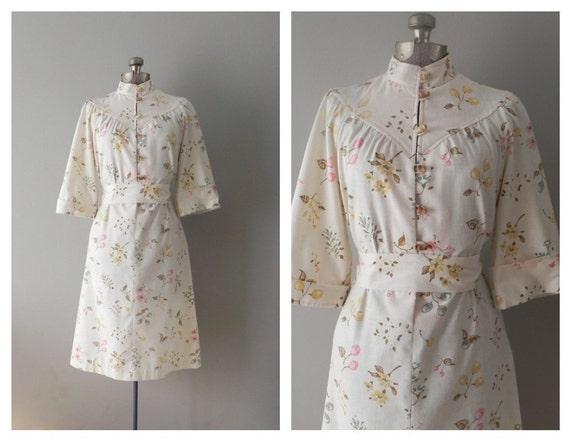 70s cream cotton mod dress - large - far east meets old west