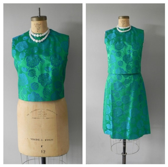 vintage 50s/ 60s brocade holiday dress - matching separates - skirt set - emerald green and bright blue - small to medium