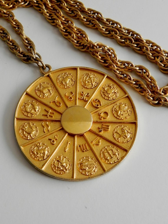 vintage signed napier zodiac necklace - gold long chain with pendent - 70s astrology jewelry
