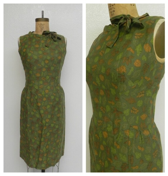 flirty 40s dress with kitten bow - olive green with leaf pattern - medium
