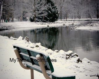 Lonely park bench in winter, 11X14 fine art photograph