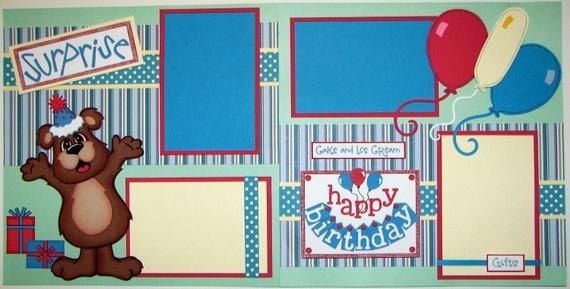 Birthday Bear Boy 2 Page 12 X 12 Layout Kit Scrapbook Paper Piecing Bears Kits