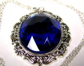 OOAK Cobalt Blue Rhinestone New Old Stock-Pendant Necklace Checker Board Faceted Rhinestone Silver Plated New Old Stock Setting 40mm x 30mm