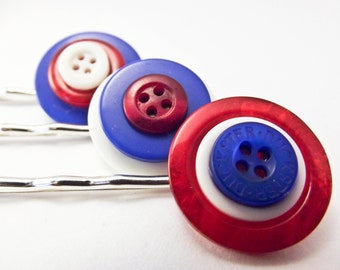 Patriotic button bobby pins red white and blue fly that flag silver plated hair clips made from vintage buttons
