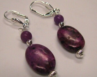 Pink Oval Rhodonite gemstone Dangle Earrings on silver plated lever backs