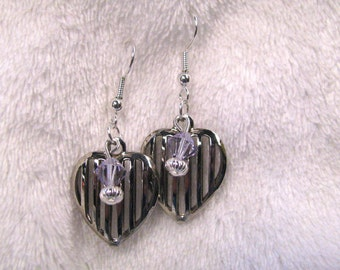 Sterling silver plated heart dangle earrings with vintage repurposed open weave hearts and tanzinite crystals