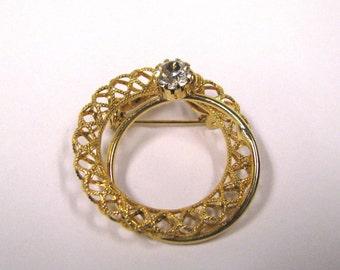 Vintage crystal rhinestone filagree circular brooch gold tone art deco wear or repurpose