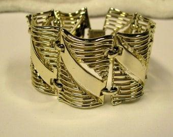 Vintage, Retro, Wide Bold gold tone bracelet, Signed Pegasus Coro, Vintage 1950s
