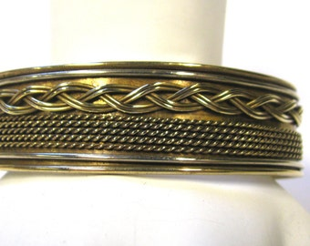 Vintage Brass Cuff Bracelet with Braided Brass and twisted brass wire trim Wear or Repurpose