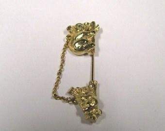 Vintage signed Avon Koala Bear Lapel Pin or Stick Pin in Gold tone, Mom Koala Bear with Baby Koala Bear