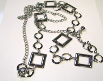 Vintage Retro Style 1970s Silver tone Metal Belt, Wear or Repurpose, See Pics for full details