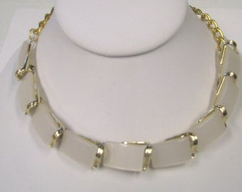 White Square Thermoset Gold Tone Necklace Made with Upcycled Repurposed Vintage Necklace