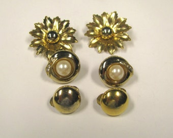 Vintage Gold tone Clip On Earring Lot, Daisies, Faux Pearl & Rhinestones, Gold tone Monet Button earrings, wear or repurpose