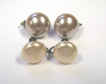 Vintage Faux Pearl Button Earring Lot, Pinks Clip on and Screw back