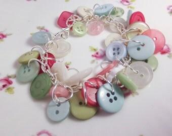 Spring button bracelet pastel bracelet on silver toned chain pink green sky blue white plastic buttons girls bracelet