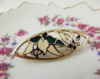Lotus flower enamel floral brooch in gold tone metal, Emamel Flower Brooch