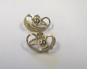 Vintage Art Deco Filigree Gold filled Screw back Earrings Signed Loran Sim, 12kgf