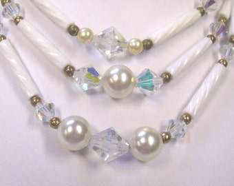 Vintage White Bead Ab Crystal Multi Strand Beaded Necklace, in Gold tone metal