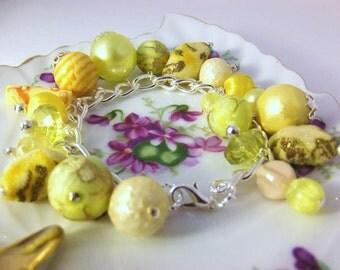 Handmade vintage beaded bracelet vintage lucite beaded bracelet yellow beaded bracelet beaded charm bracelet on silver plated chain