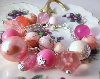 Handmade bracelet using Vintage pink plastic lucite beads on silver plated chain charm bracelet dangle bracelet deaded bracelet