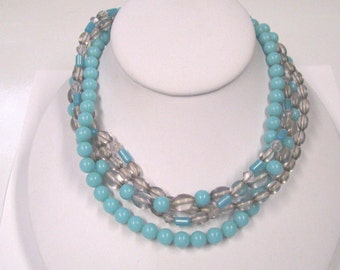 Vintage Multi Strand Turquoise & Clear Lucite Beaded Necklace, Perfect for Summer