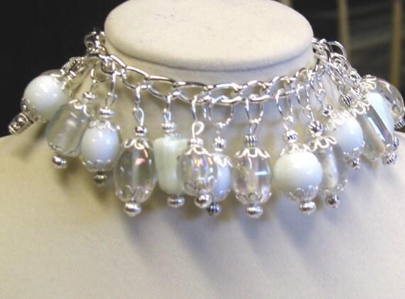 White Glass Cluster bracelet Dangle lamp work beads handmade on silver plated chain, Cha Cha Bracelet