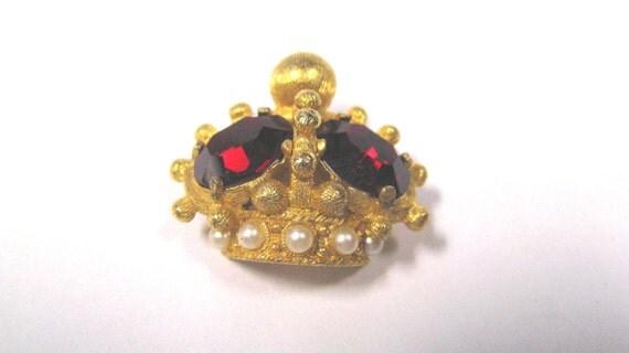 Vintage Royal Crown Brooch, Ruby Red Jeweled & White Faux Pearl Royal Crown Brooch Pin.