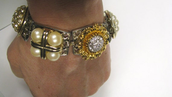 OOAK Gold tone Linked Bracelet With Repurposed Rhinestone Faux Pearl Earrings, Mixed Media Bracelet, Assemblage Bracelet