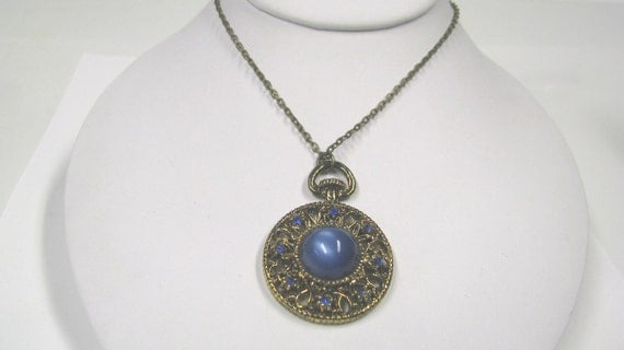 Blue Moon Glow Cabochon & Rhinestone Pendant Made with Repurposed Vintage Jewelry, Upcycled Jewelry