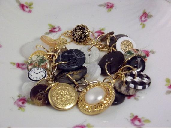 Steam punk bracelet Handmade Button Bracelet Gold tone Faux Pearl, Black Buttons, Steam Punkish Button Braclet