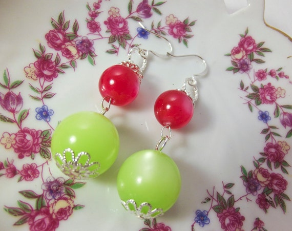 Handmade Vintage Lucite moonglow earrings in lime green and cherry red silver plated made from vintage beads dangle earrings berry earrings