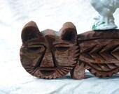 Vintage African Hand Carved Cat or Lion