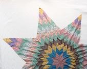 "Vintage Quilt Star, 48"" patchwork 1930s cotton"