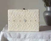 Bride's lace box, repurposed white box and upcycled Edwardian blouse