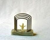 Vintage Letter Rack, beige/green marble base