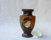 Souvenir of Brittany, Rudolph Valentino in Rennes wooden vase or urn