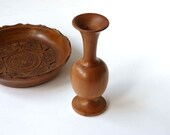 Carved wooden bowl and wooden vase, rustic butterscotch home decor